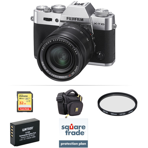 Fujifilm X-T10 Mirrorless Digital Camera with 18-55mm Lens Deluxe Kit (Silver)