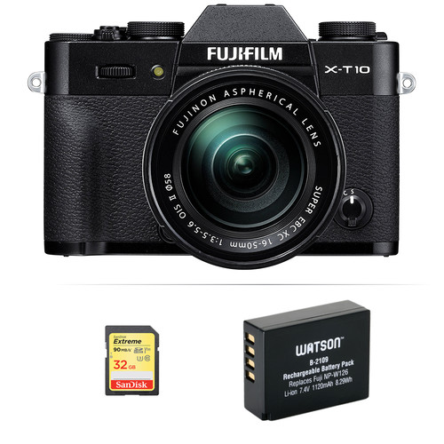 Fujifilm X-T10 Mirrorless Digital Camera with 16-50mm Lens Basic Kit (Black)