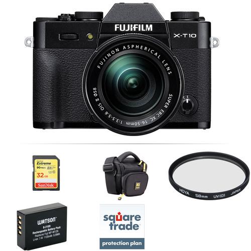 Fujifilm X-T10 Mirrorless Digital Camera with 16-50mm Lens Deluxe Kit (Black)