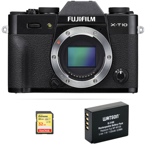 Fujifilm X-T10 Mirrorless Digital Camera Body Basic Kit (Black)