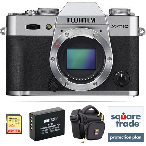 Fujifilm X-T10 Mirrorless Digital Camera Body Deluxe Kit (Silver)