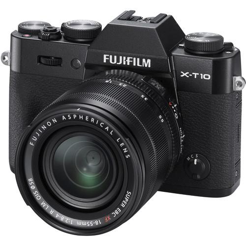 Fujifilm X-T10 Mirrorless Digital Camera with 18-55mm and 55-200mm Lenses Kit (Black)