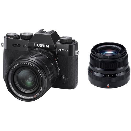 Fujifilm X-T10 Mirrorless Digital Camera with 18-55mm and 35mm Lenses Kit (Black)