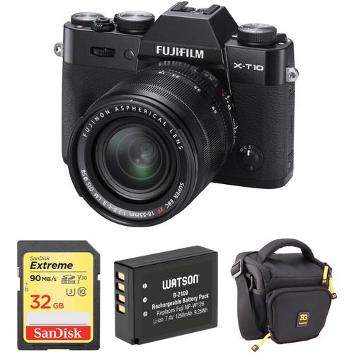 Fujifilm X-T10 Mirrorless Digital Camera with 18-55mm Lens Basic Kit (Black)
