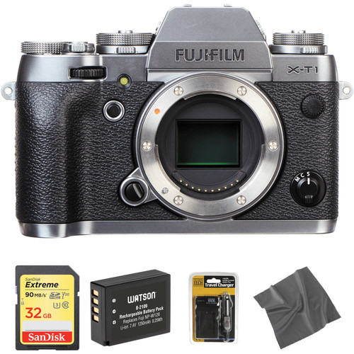 Fujifilm X-T1 Mirrorless Digital Camera Body with Accessories Kit (Graphite Silver Edition)