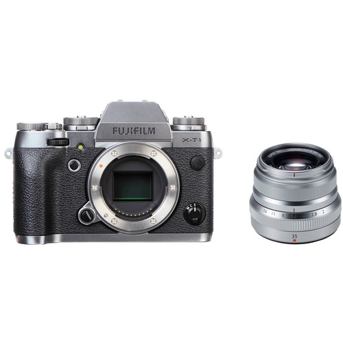 FUJIFILM X-T1 Mirrorless Digital Camera with 35mm f/2 Lens Kit (Graphite Silver Edition)