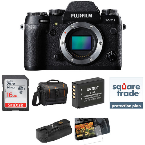 Fujifilm X-T1 Mirrorless Digital Camera Deluxe Kit (Body Only, Black)