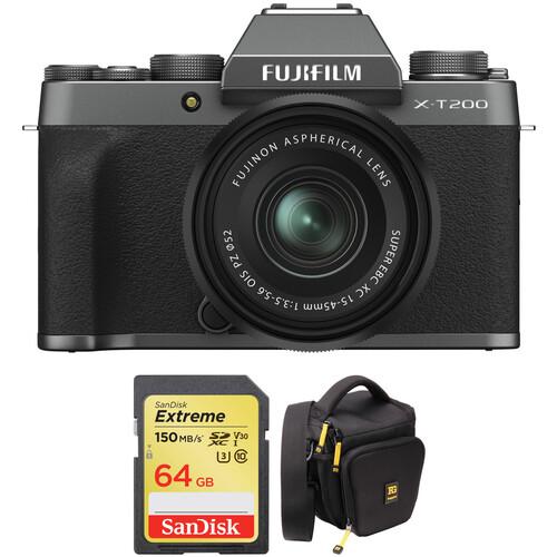 FUJIFILM X-T200 Mirrorless Digital Camera with 15-45mm Lens and Accessories Kit (Dark Silver)