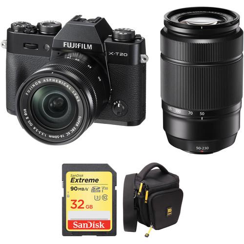 Fujifilm X-T20 Digital Camera with 16-50mm and 50-230mm Accessories Kit (Black)