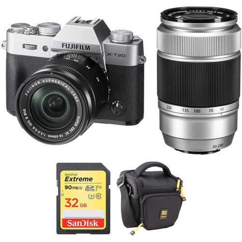 Fujifilm X-T20 Digital Camera with 16-50mm and 50-230mm Accessories Kit (Silver)