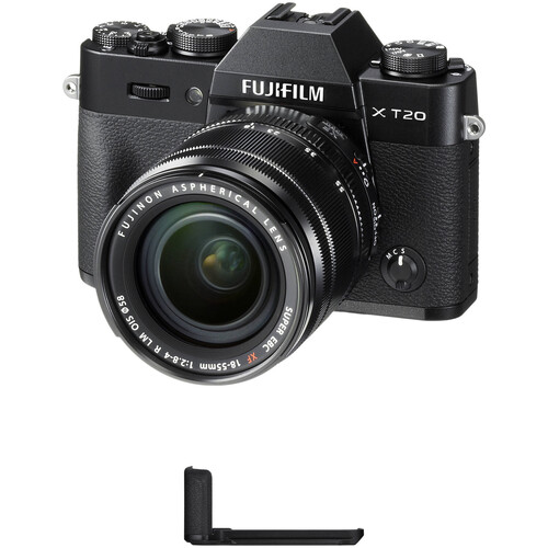 FUJIFILM X-T20 Mirrorless Camera with XF 18-55mm f/2.8-4 R LM OIS Lens and Grip Kit (Black)
