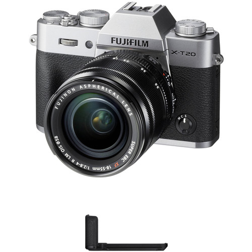 FUJIFILM X-T20 Mirrorless Camera with XF 18-55mm f/2.8-4 R LM OIS Lens and Grip Kit (Silver)