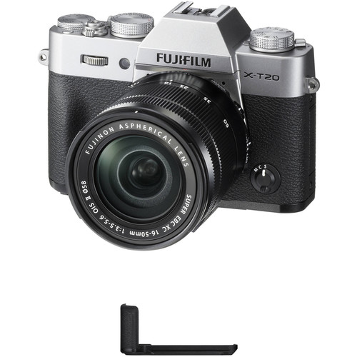 FUJIFILM X-T20 Mirrorless Camera with XC 16-50mm f/3.5-5.6 OIS II Lens and Grip Kit (Silver)