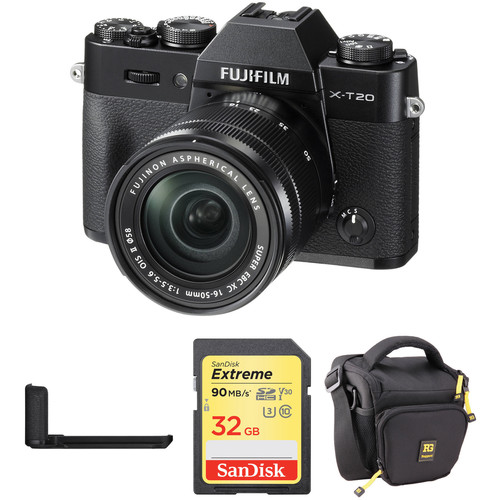 Fujifilm X-T20 Mirrorless Camera with XC 16-50mm Lens, Grip, and Accessories Kit (Black)