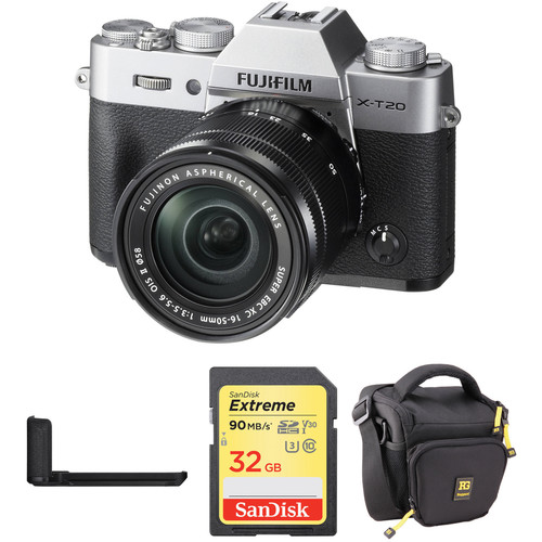 FUJIFILM X-T20 Mirrorless Camera with XC 16-50mm Lens, Grip, and Accessories Kit (Silver)