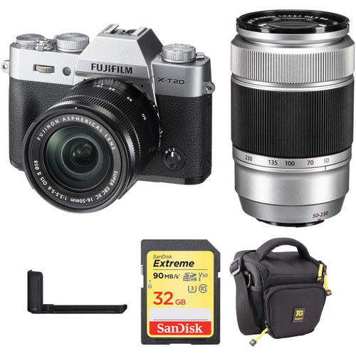 FUJIFILM X-T20 Mirrorless Camera with 16-50mm, 50-230mm, Grip, and Accessories Kit (Silver)