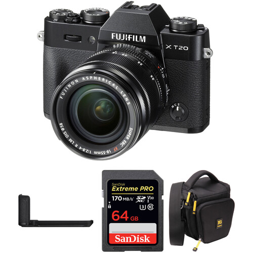 FUJIFILM X-T20 Mirrorless Camera with XF 18-55mm Lens, Grip, and Accessories Kit (Black)