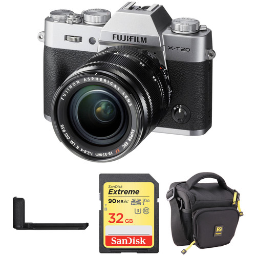 FUJIFILM X-T20 Mirrorless Camera with XF 18-55mm Lens, Grip, and Accessories Kit (Silver)