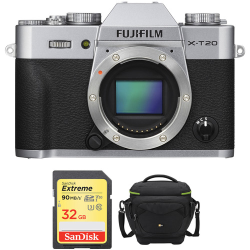 Fujifilm X-T20 Mirrorless Digital Camera Body with Accessories Kit (Silver)