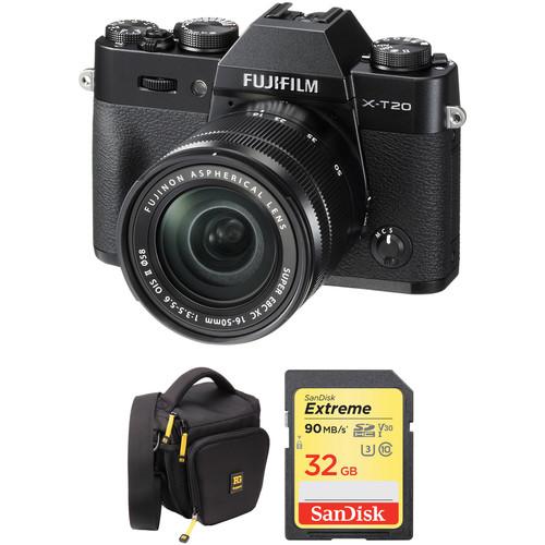 Fujifilm X-T20 Mirrorless Digital Camera with 16-50mm Lens and Free Accessories Kit (Black)