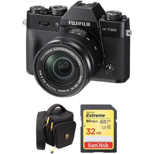 FUJIFILM X-T20 Mirrorless Digital Camera with 16-50mm Lens and Free Accessories Kit (Black)