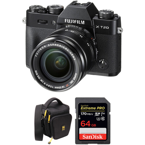 FUJIFILM X-T20 Mirrorless Digital Camera with 18-55mm Lens and Free Accessories Kit (Black)