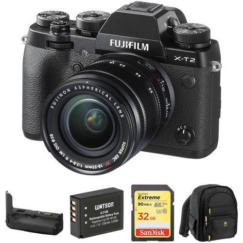 FUJIFILM X-T2 Digital Camera with XF 18-55mm f/2.8-4 R LM OIS Lens and Accessories Kit