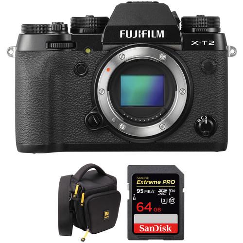 Fujifilm X-T2 Mirrorless Digital Camera and 64GB SD Card Kit (Black Body)