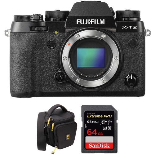 Fujifilm X-T2 Mirrorless Digital Camera and 64GB SD Card Kit (Black Body)
