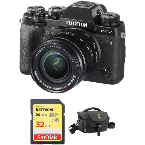 FUJIFILM X-T2 Mirrorless Digital Camera with 18-55mm Lens and Accessories Kit