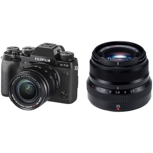 FUJIFILM X-T2 Mirrorless Digital Camera with 18-55mm and 35mm f/2 Lenses (Black)
