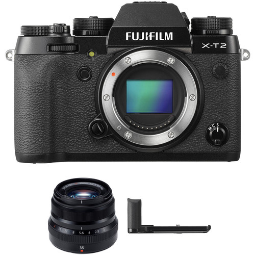 FUJIFILM X-T2 Mirrorless Digital Camera with 35mm f/2 Lens and Hand Grip Kit (Black)