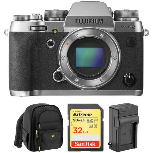 FUJIFILM X-T2 Mirrorless Digital Camera Body with Free Accessory Kit (Graphite Silver Edition)