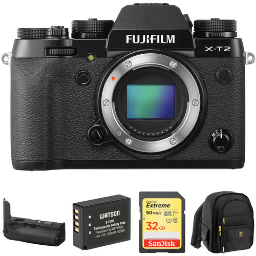 FUJIFILM X-T2 Mirrorless Digital Camera with Battery Grip and Accessories Kit