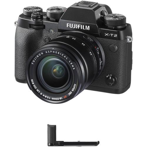 FUJIFILM X-T2 Mirrorless Digital Camera with 18-55mm Lens and Hand Grip Kit (Black)
