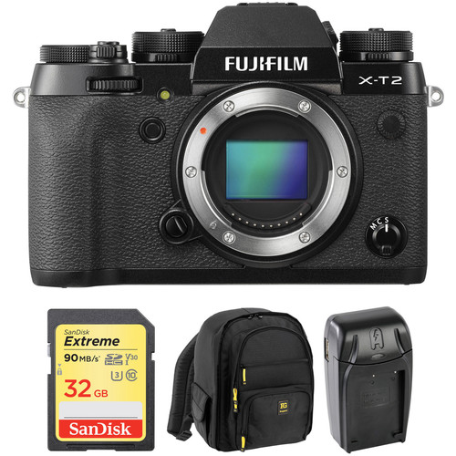 FUJIFILM X-T2 Mirrorless Digital Camera Body with Free Accessory Kit (Black)