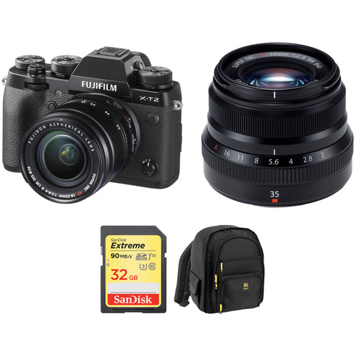 FUJIFILM X-T2 Mirrorless Digital Camera with 18-55mm and 35mm f/2 Lenses and Accessories Kit