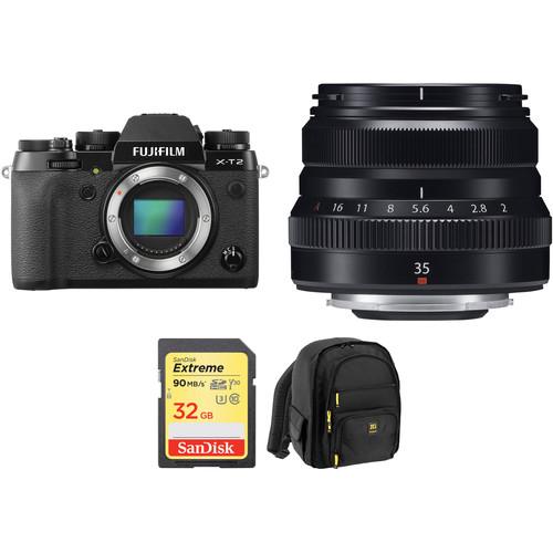 FUJIFILM X-T2 Mirrorless Digital Camera with 35mm f/2 Lens and Accessories Kit