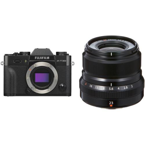 FUJIFILM X-T30 Mirrorless Digital Camera with 23mm f/2 Lens Kit (Black)