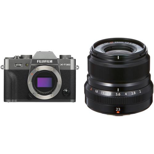 FUJIFILM X-T30 Mirrorless Digital Camera with 23mm f/2 Lens Kit (Charcoal Silver)