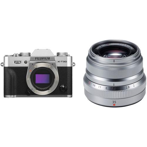 FUJIFILM X-T30 Mirrorless Digital Camera with 35mm f/2 Lens Kit (Silver)