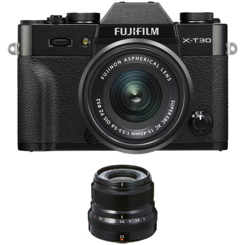 FUJIFILM X-T30 Mirrorless Digital Camera with 15-45mm and 23mm f/2 Lenses (Black/Black)