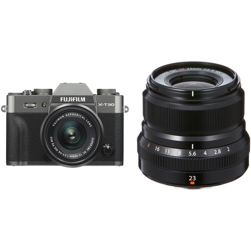 FUJIFILM X-T30 Mirrorless Digital Camera with 15-45mm and 23mm f/2 Lenses (Charcoal Silver/Black)