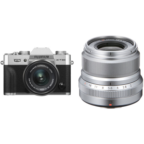 FUJIFILM X-T30 Mirrorless Digital Camera with 15-45mm and 23mm f/2 Lenses (Silver/Silver)