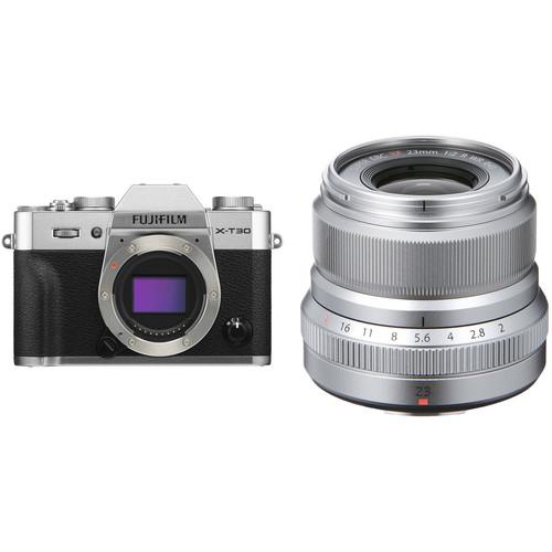 FUJIFILM X-T30 Mirrorless Digital Camera with 23mm f/2 Lens Kit (Silver)