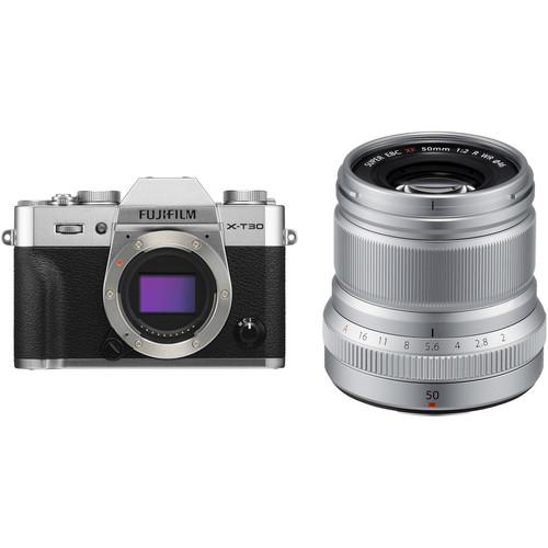 FUJIFILM X-T30 Mirrorless Digital Camera with 50mm f/2 Lens Kit (Silver)