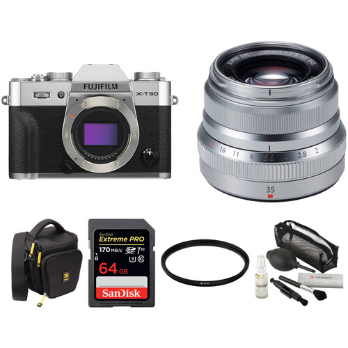 FUJIFILM X-T30 Mirrorless Digital Camera with 35mm f/2 Lens and Accessories Kit (Silver)