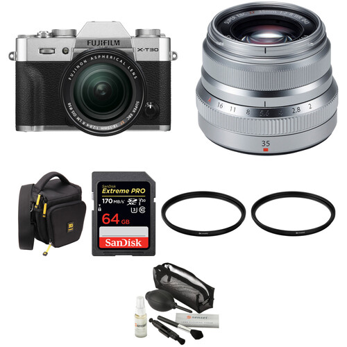 FUJIFILM X-T30 Mirrorless Digital Camera with 18-55mm and 35mm f/2 Lenses and Accessories Kit (Silver)
