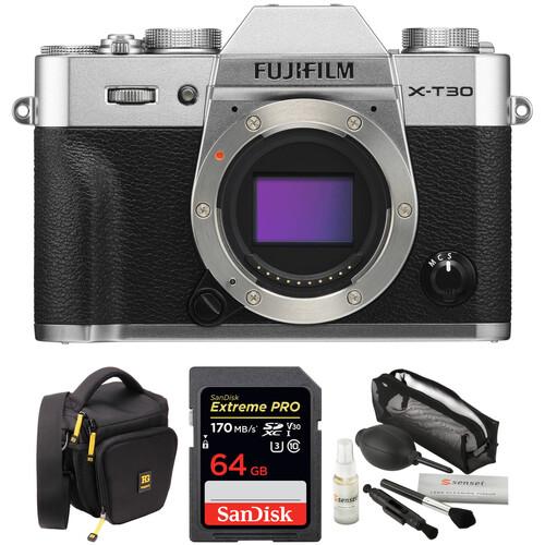 FUJIFILM X-T30 Mirrorless Digital Camera Body with Accessories Kit (Silver)