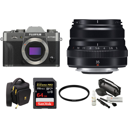 FUJIFILM X-T30 Mirrorless Digital Camera with 35mm f/2 Lens and Accessories Kit (Charcoal Silver)